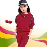 Children's clothing female child 2013 autumn child batwing shirt harem pants sports set child twinset