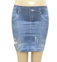Free shipping+2013 summer all-match faux denim high waist skirt elastic slim hip basic hole denim skirt bust skirt