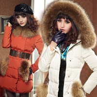 free shipping tops women clothing winter large fur wadded jacket outerwear cotton-padded jacket female medium-long down coat