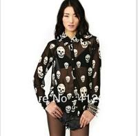 New Womens skull printing chiffon tops Blouse Black t shirt Blouse Free ship S M L