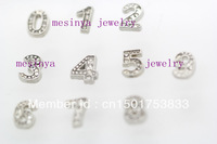 100pcs numbers from 0-9 floating charms for glass locket