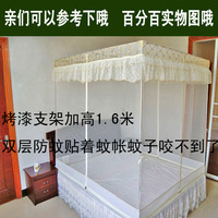 Zipper three door stainless steel paint mount French thickening encryption groundedness mosquito net
