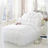Free shipping!Romantic Snow White cotton lace textile Family of four bedding set full size duvet covers / bed sheet / Pillowcase