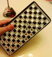 2013 diamond wallet long design women's with diamond wallet day clutch black and white lattice