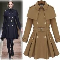Star style poncho cape epaulette skirt wool coat outerwear camel Dark Blue