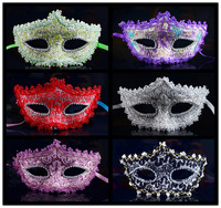 factory price! prom halloween ball dance princess lace mask for women flat head black masks carnival party costume high quality