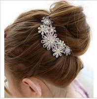 58 hair stick flower fat plug full rhinestone comb hair accessory