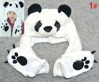 Autumn and winter hats cartoon pandas scarf gloves on children's cap Free  shipping