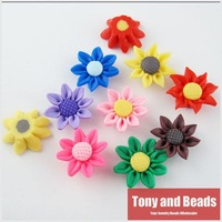 (20Pcs=1Lot !) Random Mixed Polymer Fimo Clay Sun Flower Spacer Beads Charms 20mm For Jewelry Making Free Shipping Item No.FM8
