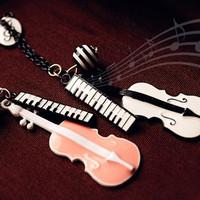 Factory Price Wholesale Korean Jewelry Fashion Violin Musical Pendant Necklace B1021