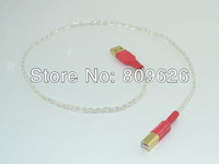 1m Silver plated USB cable with Gold Plated USB Connector DIY Silver USB cable