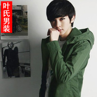 2013 men's clothing water wash 100% cotton slim jacket with a hood teenage male autumn outerwear