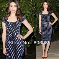 New temperament Slim black white Polka Dot Dress With Knee-length sleeved package hip dress