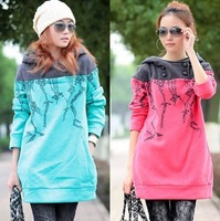 2013 spring long-sleeve pullover print fleece sweatshirt plus size sweatshirt long-sleeve outerwear with a hood women's