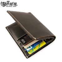 Pear doll male wallet cowhide handmade men's vertical short design wallet q145 free shipping