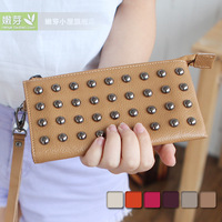 free shipping 2013 rivet genuine leather wallet long design ultra-thin fashion women's coin purse mobile phone bag