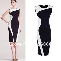 New Black and White Patchwork Slim Vintage Elegant Summer Sleeveless O-Neck Dress