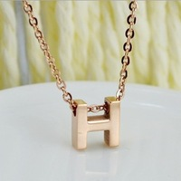 High Quality 14K Rose Gold Plated Titanium Steel Brand Design Necklace Free Shipping