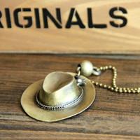 Korea retro jewelry cowboy hats men and women necklace pendant fashion A1034