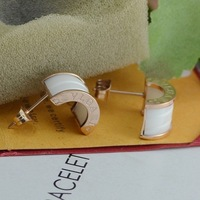 New Arrivals High Quality Rose Gold Plated Titanium Steel Vintage Ceramic Earrings Free Shipping