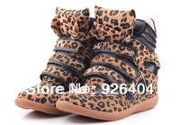 2013 Fashion Isabel marant sneakers HIGH-TOP Height Increasing women shoes Within  higher women's casual sneakers Leopard boots