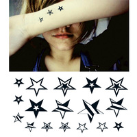 Waterproof temporary tattoo stickers with Stars Body Paint 10pcs free shipping