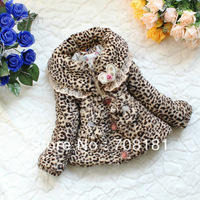 Free shipping Winter Children's clothing baby girls bow leopard lace coats plush padded jackets thick Fur Coats kids clothes