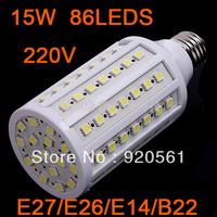 PROMOTION! 15W 5050 SMD 86 LED Corn Bulb lamps  E27 110&220V 360 degree white/Warm White Free Shipping