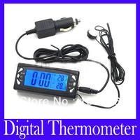 Free shipping Car LCD Digital Clock Temperature Thermometer In/Out Temperature Thermometer with retail box T23, 2pcs/lot