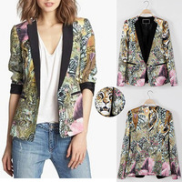 Retro Women Forest Floral Tiger Leopard Animals Graffiti Blazer Suit Jacket Coat Free Shipping