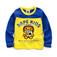 Children's clothing 2013 autumn cartoon male child 100% cotton long-sleeve T-shirt baby casual top child clothes