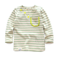 Children's clothing 2013 autumn green stripe paragraph female male child long-sleeve T-shirt baby child casual clothes