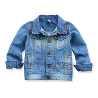 Children's clothing autumn fashion child 2013 male female child outerwear baby cardigan jacket child solid color denim coat
