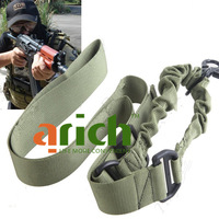 Tactical Elastic Single Point Nylon Bungee Snap Hook CQB Rifle Gun Sling for Outdoor Activities Army Uses - Green