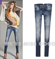 Water wash 2013  white hole beads butt-lifting    logo retro hole strressed jeans slim skinny pants