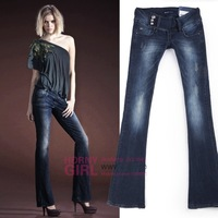 Hot-selling flare   trousers waist mid cut boot  logo retro hole strressed jeans slim skinny pants