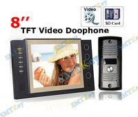 8 inch TFT Monitor LCD Color Video Record Door Phone DoorBell Intercom System with IR camera