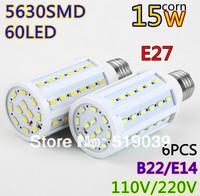 6X Free shipping E27/E14/B22 LED Corn Bulbs 5630SMD 60pcs 15W LED Spotlight bulb Pure/Warm/Cool white AC 110V/220V Led lighting