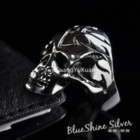 925 pure silver jewelry thai silver vintage personality male ring skull