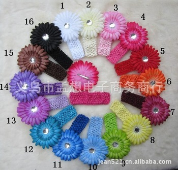 Free shipping (1 pieces/lot) Child crochet headbands hair band baby headband large flower headband daisy hair band