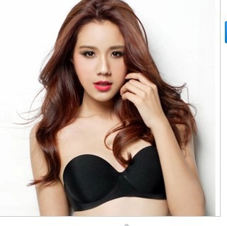 Strapless bra cup thick gather a Seamless
