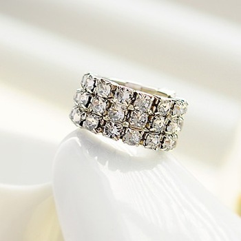 Free Shipping Fashion Exquisite Silver Plated 3 Rows Rhinestone Elastic Rings Wholesale 6pieces/lot