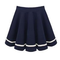 2014 Autumn new arrival plus size navy preppy style ruffle skirt stripe half-length pleated bottom expansion female  short skirt