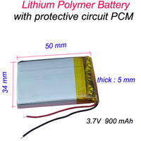 3.7V 900 mAh Rechargeable Polymer Lithium battery for GPS Bluetooth Headset Mp3 Mp4 Mobiles Backup power Supply 503450