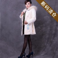 2013 women's ultralarge cap of rex rabbit hair long design fashion slim outerwear fur