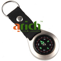 Keychain Style Round Liquid Navigation Compass with Metal Casing for Travel Camping Hiking