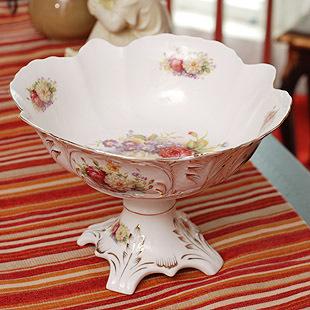 Luxury fashion ivory porcelain golden fruit bowl ceramic fruit plate candy tray furniture decoration