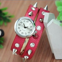 2013 new Hot sale wristwatch,Fashion Punk rivet diamond tip leather watches women watch ladies dress watch Free Shipping