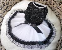 Dog Apparel Wedding Dree Black Sexy Bling Evening Dree Princess Dress Pet Cloth