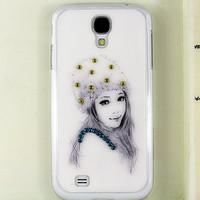 Free shipping handmade 3D Rhinestone White Hat Gilr Bling diamond case for Samsung Galaxy S4 i9500